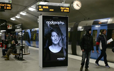 Subway ad with motion detection