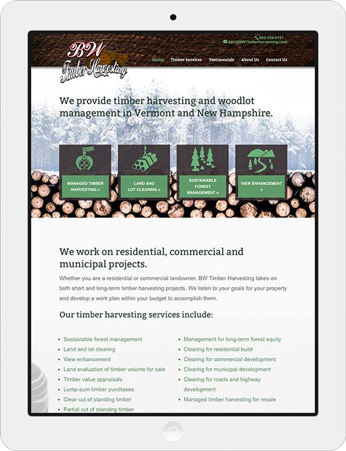 Design of a responsive website for a timber harvester