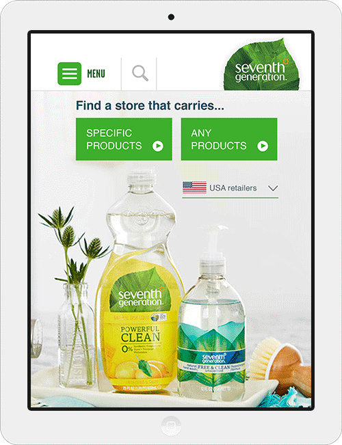 Design of a store locator for Seventh Generation