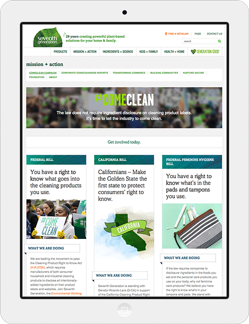 Design of an advocacy page for Seventh Generation