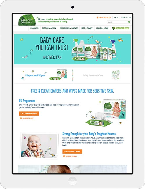 Design of a flexible marketing landing page for Seventh Generation