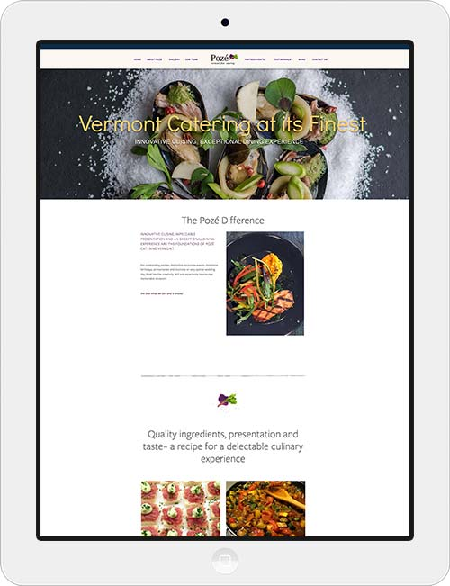 Design of a responsive website for Poze Catering and identity materials design